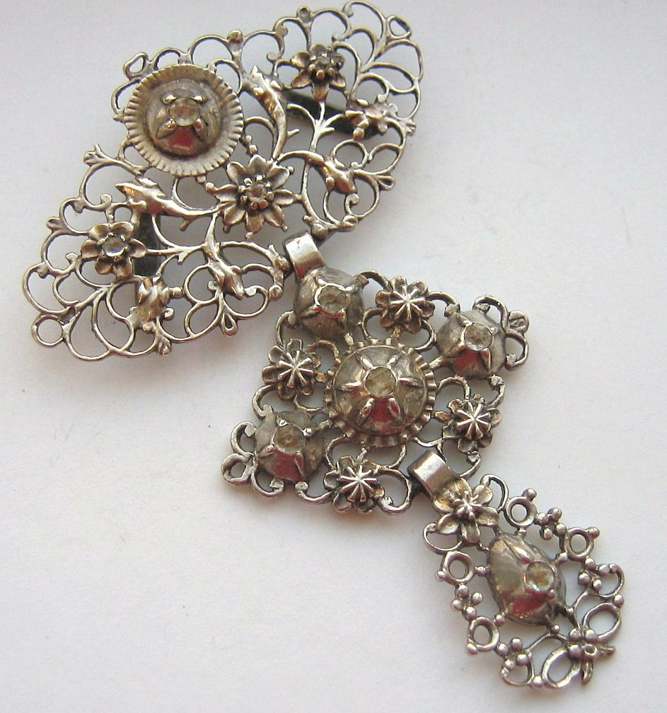 Antique French 1820 S Sterling Stomacher With Rose Cut Paste 2800 Oo